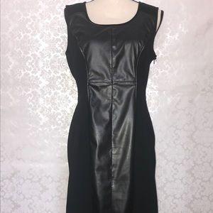 Black leather detailed dress